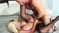 Naughty Nikki Benz lets him ream her hot pie hole how ever he wants