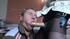 Horny Adrian opens his mouth and swallows nice toy of Salome