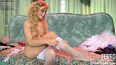 skinny blonde babe tries out her favorite frilly little numbers