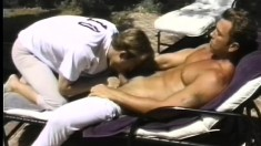 Horny hunky lovers head outdoors to make some hard anal love